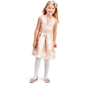 Girls Foil Floral Jacquard Matching Fit And Flare